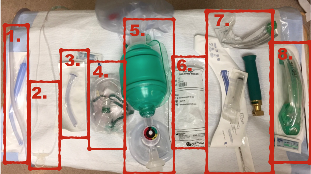 1. Suction 2. ETCO2 monitoring w/ Pre-ox NC at 15LPM, 3. Nasal Trumpet w/ lubricant, 4. NRB, 5. BVM assembled, 6. Oral airway, 7. intubating equipment, 8. Extraglottic device w/ lubricant