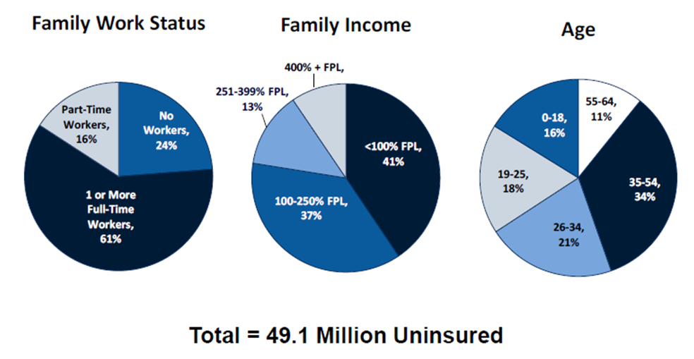 Figure 3. Characteristics of the Nonelderly Uninsured, 2010. Source: Kaiser Family Foundation, 2011. The Uninsured: A Primer. Key Facts About Americans Without Health Insurance. Page 5. (http://obamacarefacts.com/wp-content/uploads/2014/10/kisair-people-without-health-insurance.pdf. Accessed Jan 2017.