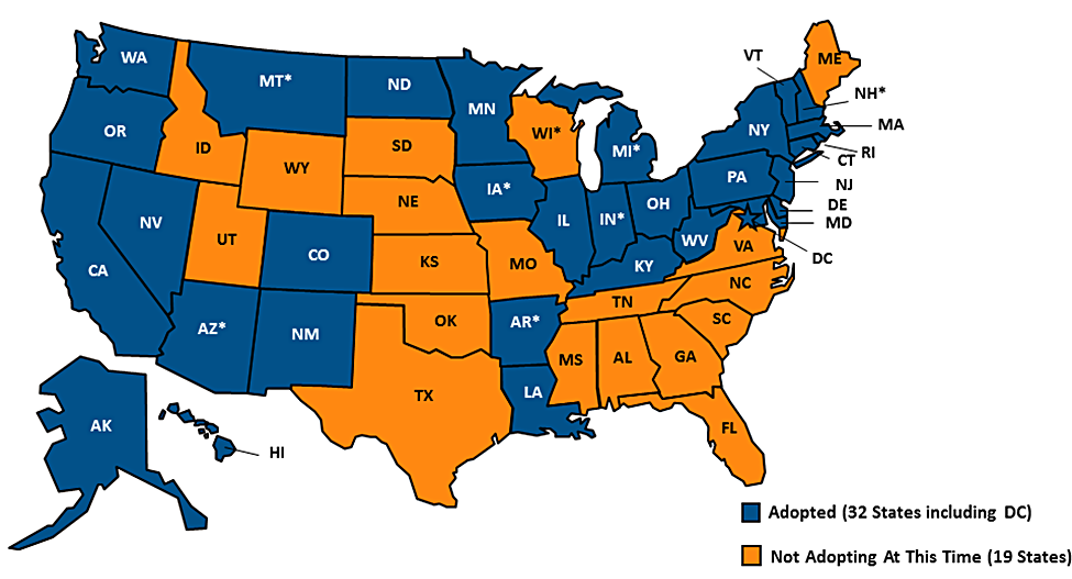 """Figure 4. Adoption of State Medicaid Expansion, October 2016.       SOURCE: """"STATUS OF STATE ACTION ON MEDICAID EXPANSION DECISION,"""" KFF STATE HEALTH FACTS, UPDATED OCTOBER 14, 2016. HTTP://KFF.ORG/HEALTH-REFORM/STATE-INDICATOR/STATE-ACTIVITY-AROUND-EXPANDING-MEDICAID-UNDER-THE-AFFORDABLE-CARE-ACT/"""