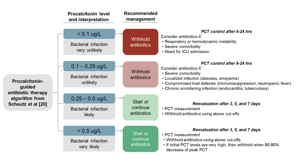 Figure B. Procalcitonin-guided antibiotic therapy algorithm from Scheutz et al [20].