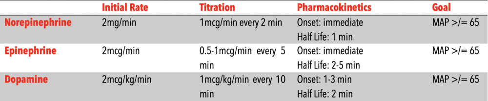 vasopressor dosing parameters - formatted to be printed and stored in flight suit.