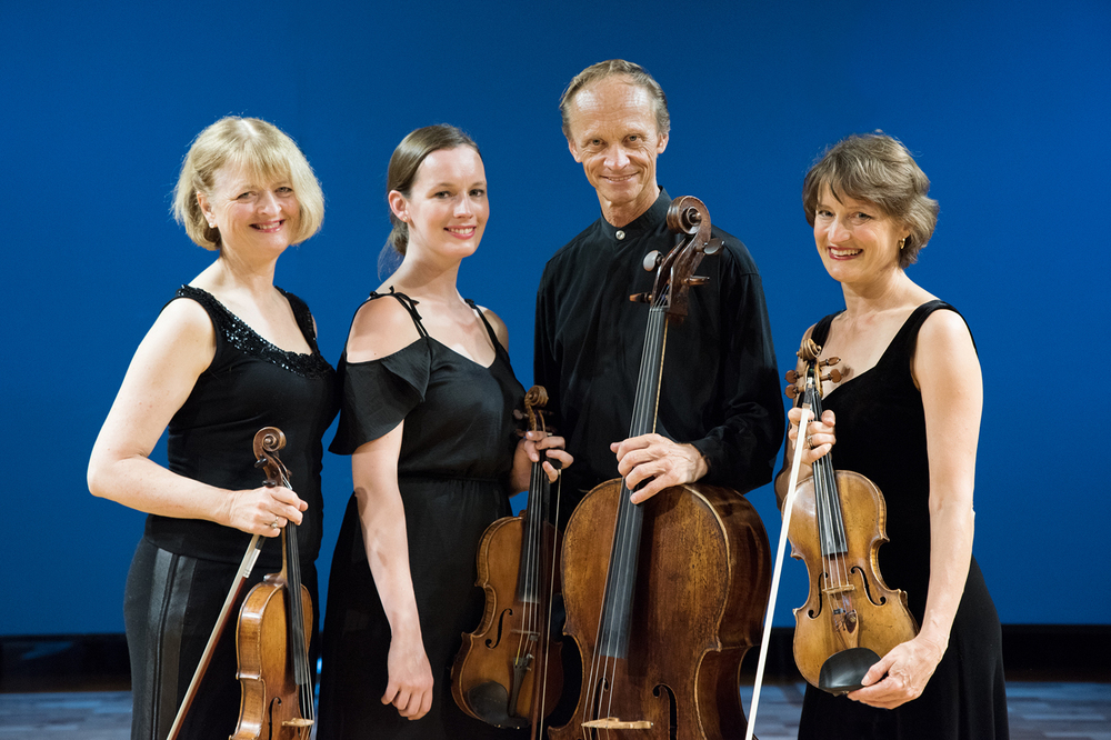 Starting at left: Gillian Ansell on viola, Monique Lapins on second violin, Rolf Gjelsten on cello and Helene Pohl on first violin