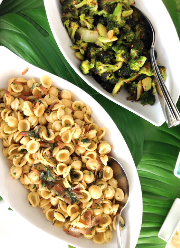 Chili Garlic Roasted Broccoli and Orecchiette with Basil & Parsley.