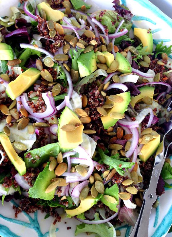 Mixed Green Salad, Pepitas, Shaved Fennel, Bermuda Onion, Avocado