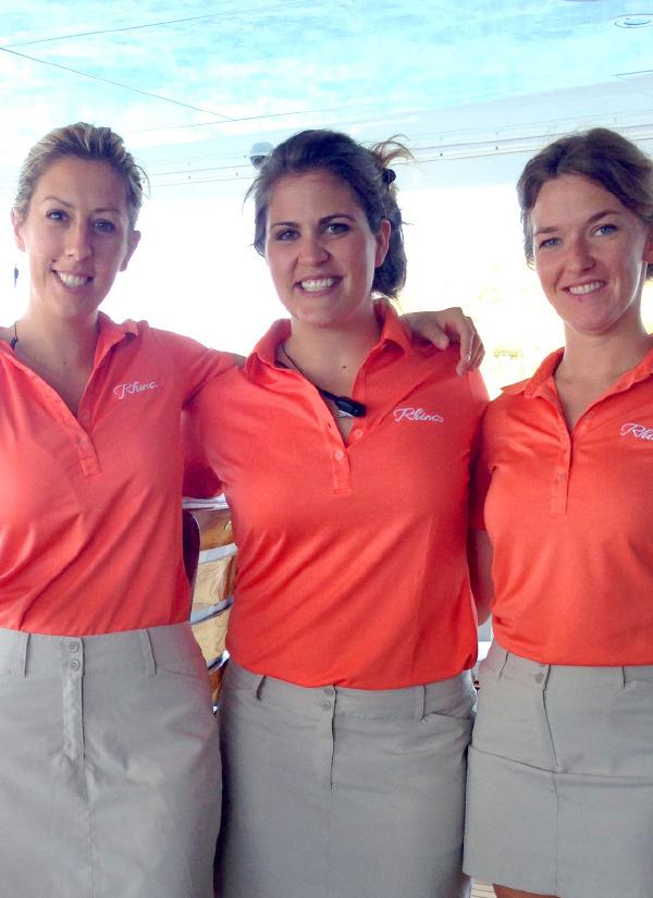 Jacey Stornetta (center) leads a fabulous team of stewardesses onboard Rhino