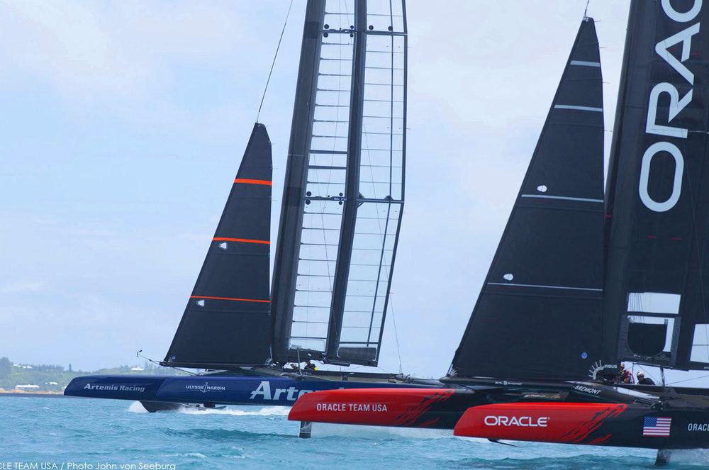 Hamilton, Bermuda. 35th America's Cup, ORACLE TEAM USA training with Artemis racing | © ACEA / Photo John von Seeburg