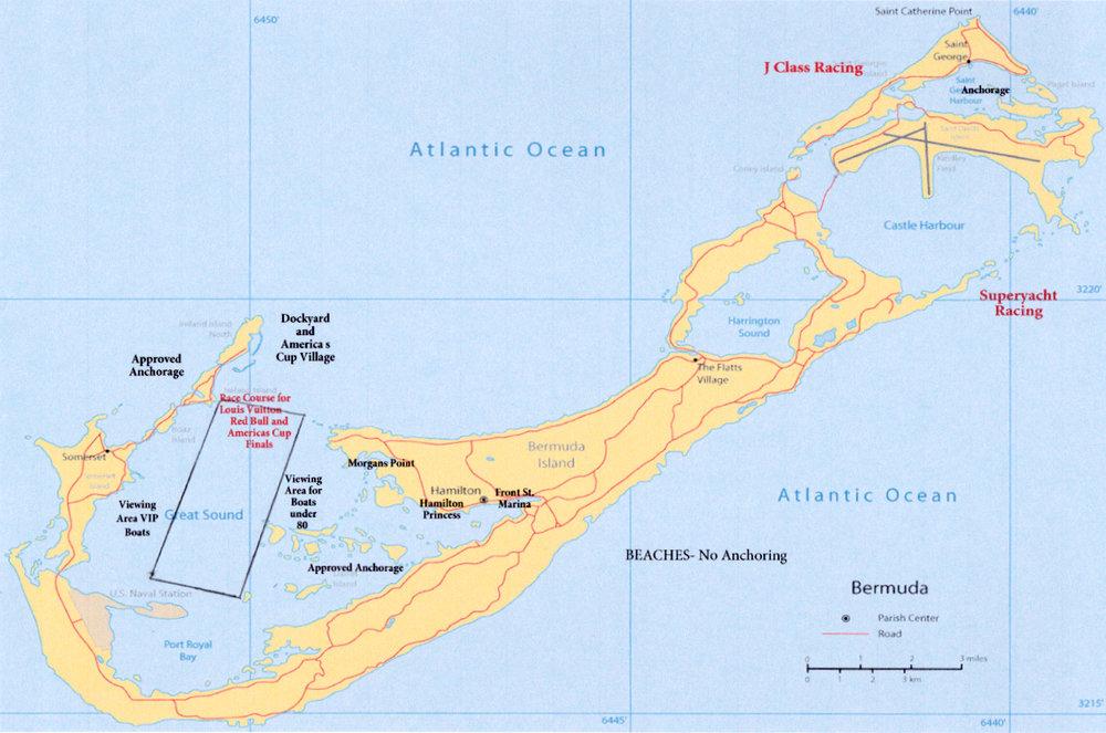 35th America's Cup Bermuda Map