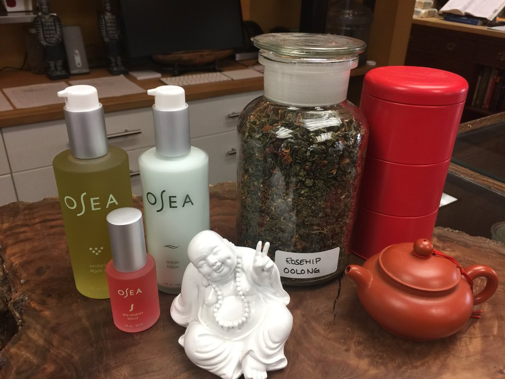 Teas, Massage Oils...  - What a brilliant way to give someone flowers with a Rosehip Oolong tea...spritz your skin with the bounty of Osea's Sea Vitamin Boost with pomegranate and gigartina seaweed...or try the luscious body oils and lotions by Osea.