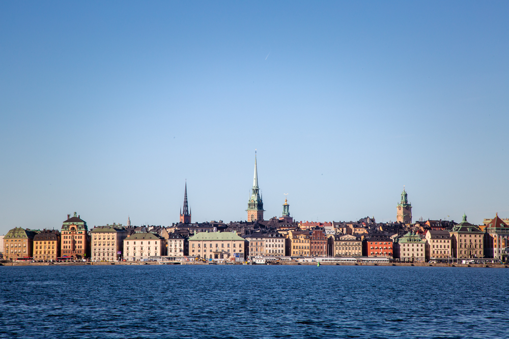 View from the boat: Skeppsbron harbor, the eastern waterfront of Gamla Stan