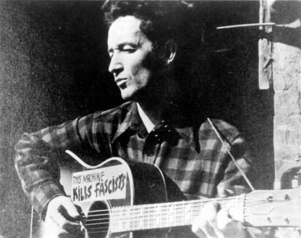 Woody Guthrie, Arguably America's most famous folk singer, was born in Okemah, Oklahoma.  He is the author of This Land is Your Land, a song that is familiar to most Americans. At least the melody and chorus. Recently, while listening to the song, I was startled by the content of many of the verses. They were much more bleak and political than I expected. Read more at http://en.wikipedia.org/wiki/This_Land_Is_Your_Land http://amidparadise.com/post/97809503989/there-are-still-copies-of-the-held-up-graphic