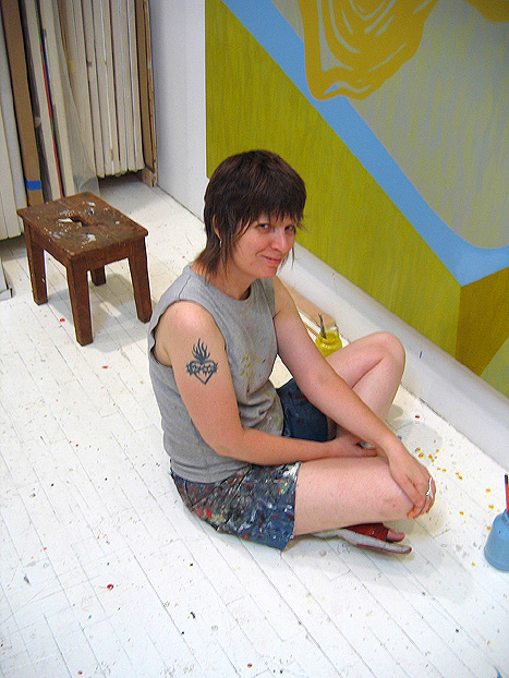 Carrie Moyer in the studio. Photo © Sheila Pepe, 2004