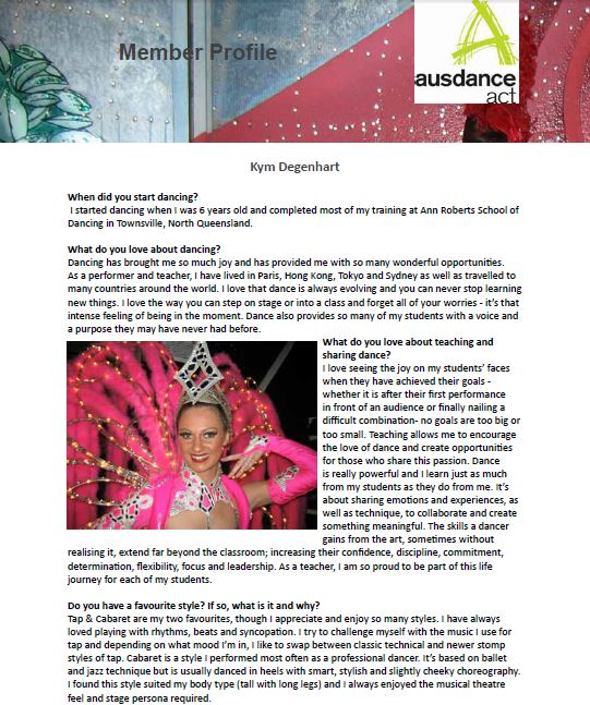 Ausdance Member Profile (part a)