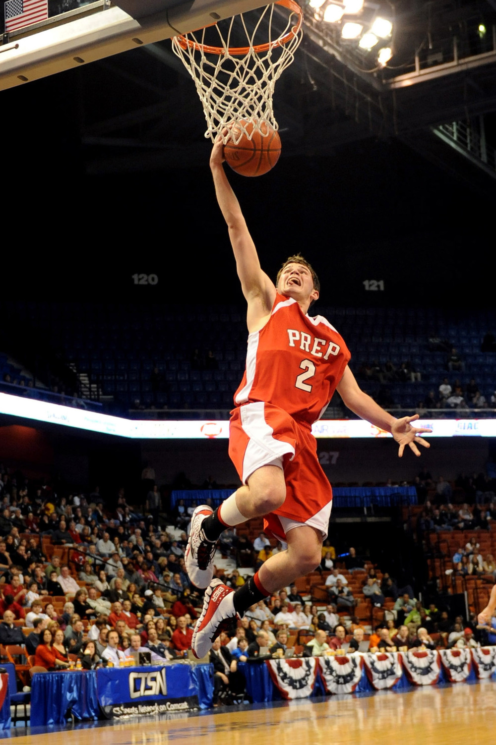 Fairfield Prep's Robbie Bier takes a shot during Saturday's Class LL State Final game at Mohegan Sun Arena on March 19, 2011.