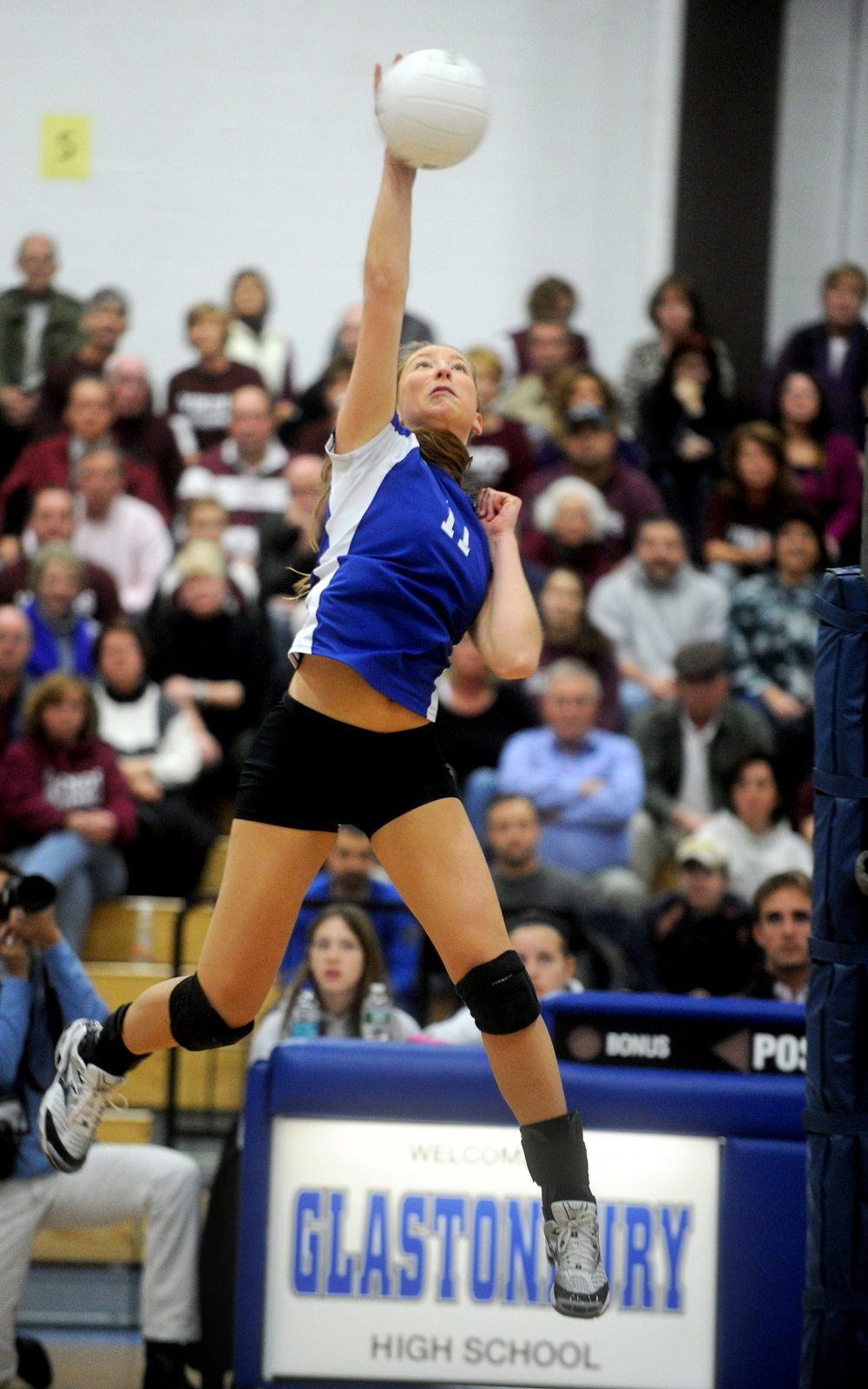 Darien's Katie Stueber spikes the ball during Saturday's Class L Volleyball Championship game against East Lyme at Glastonbury High School on November 20, 2010.