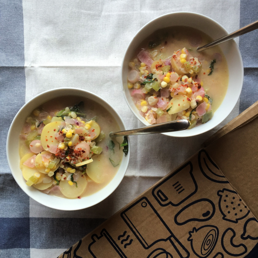 I tried Blue Apron this week! This is a summer corn chowder with potatoes, French breakfast radishes & tarragon...