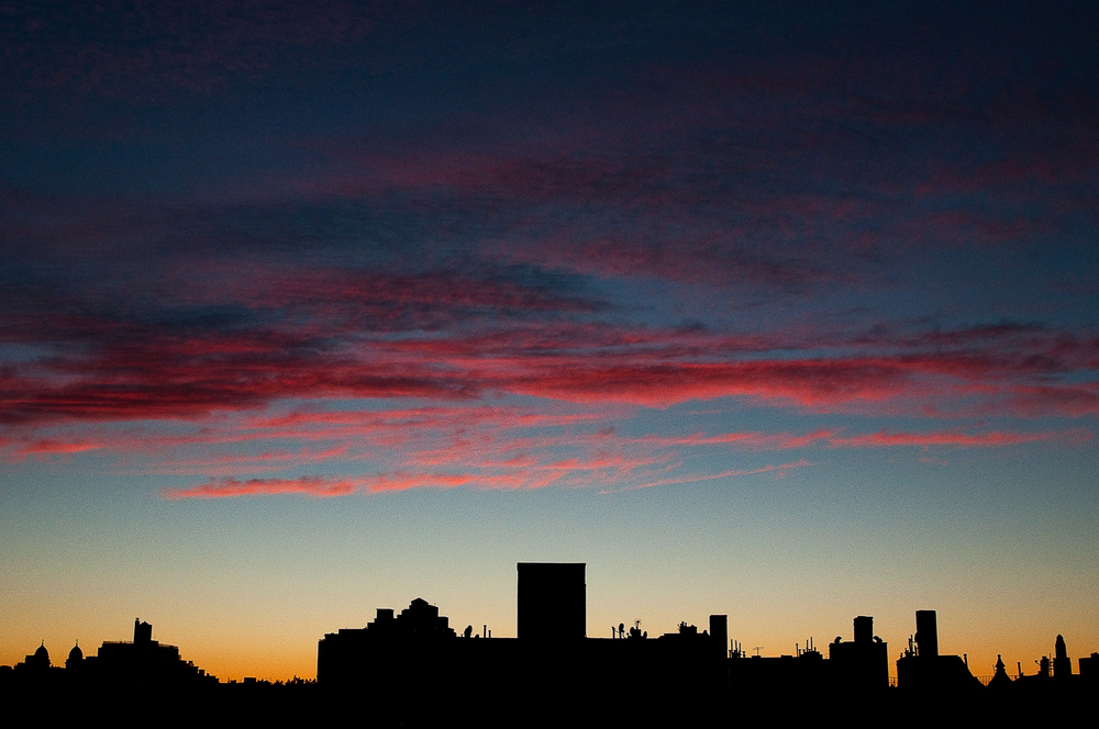 Sunset Skyline from Erica's Roof  ,   Crown Heights, Brooklyn, NY