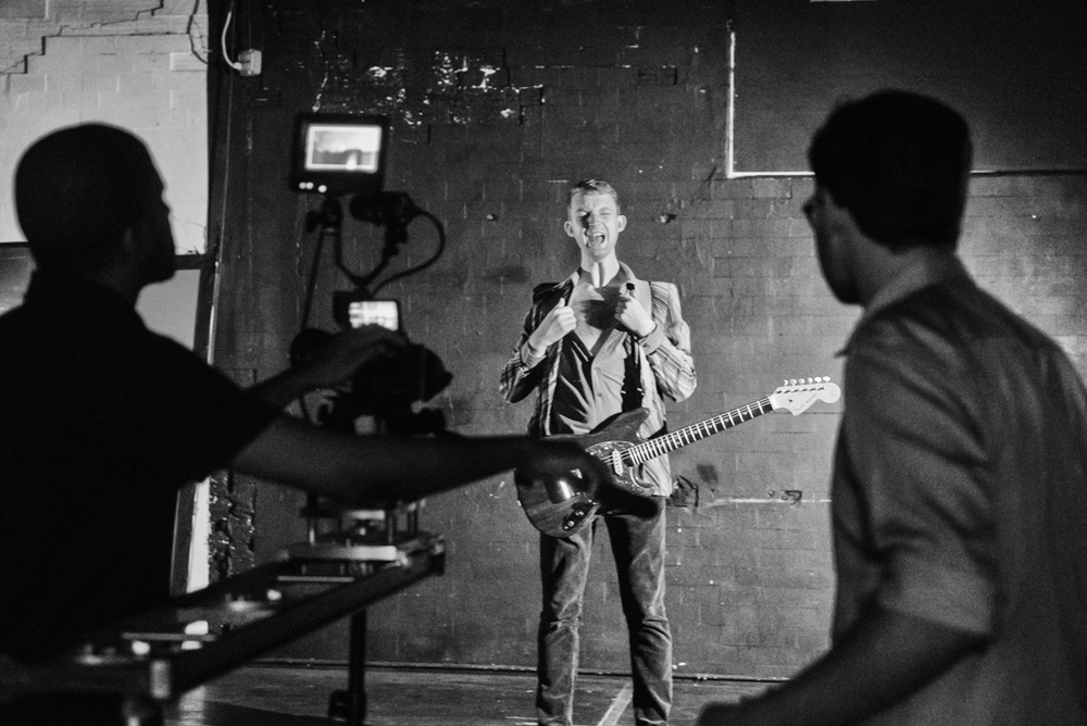 Bobby Cardos of Doubting Thomas Cruise Control during a music video taping at Downtown Community Television Center in Manhattan