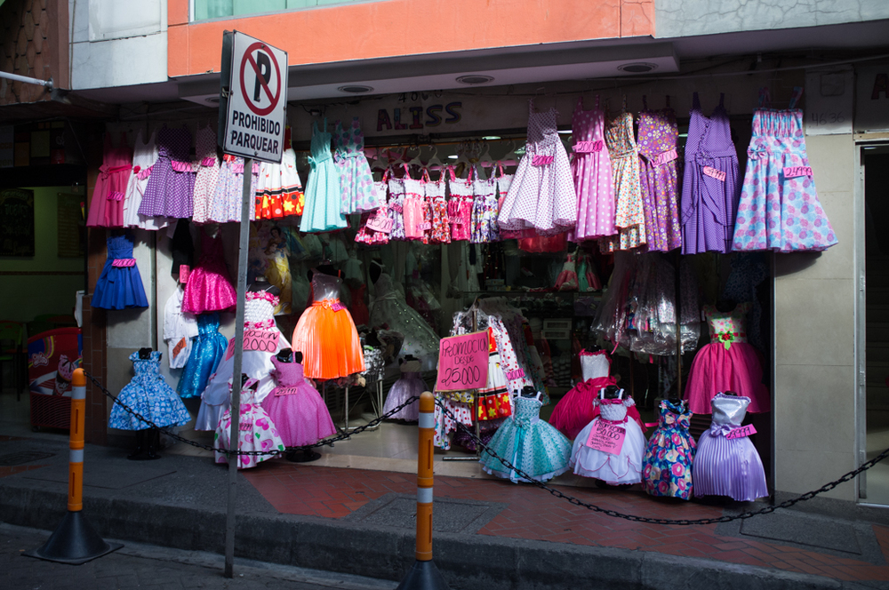 A shop of children's clothing in downtown Medellín.