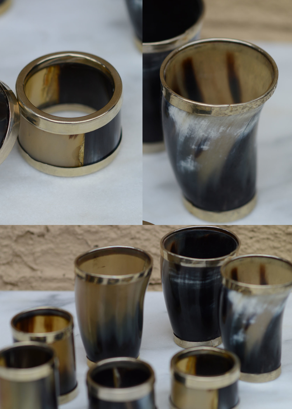These are cups, shot glasses, and napkin rings made out of horn.