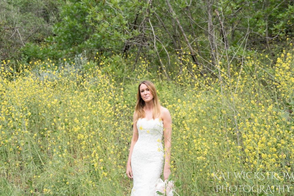 Solstice Canyon Malibu Rustic Wedding Flower Field Bridal Portrait