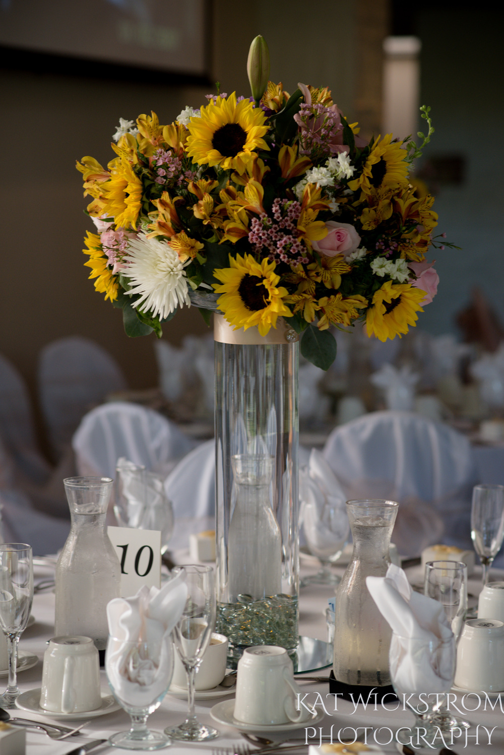 UCI Wedding Reception Table Setting Flowers