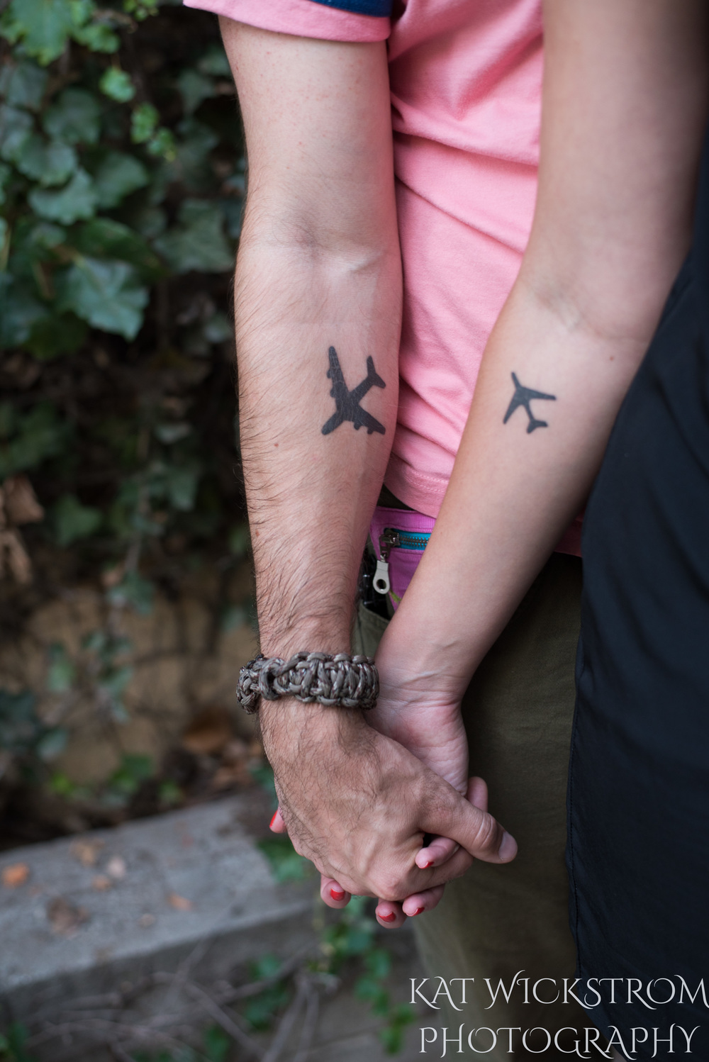 They both got matching tattoos recently of airplanes. This is a representation of their desire to travel the world together.