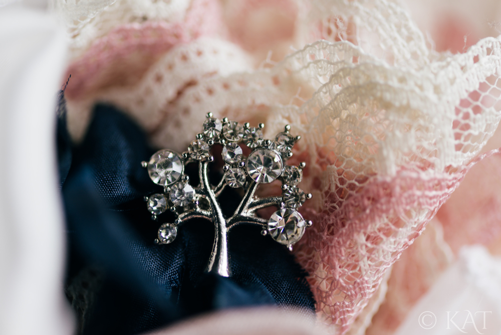 Here's one of the pins we added to the bouquet. I love this tree detail!