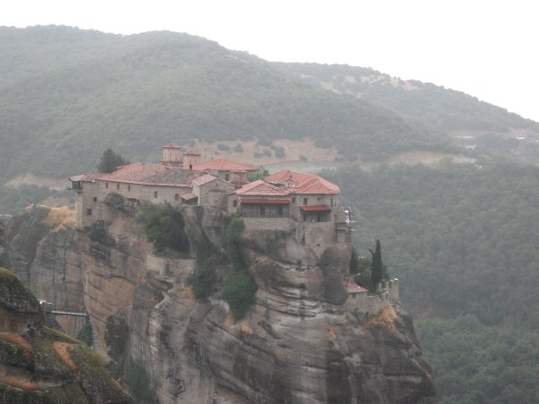 Meteora is a collection of monasteries perched high up on these pillar cliffs. It's a majestic view for sure.