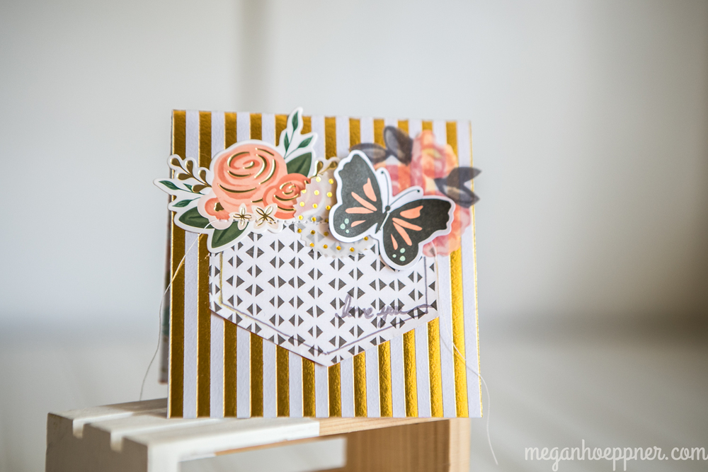 supplies: PAPER: Crate Paper (black/white), Fancy Pants Designs (gold stripe); BUTTERFLY AND ROSE: Simple Stories; VELLUM SHAPES: Maggie Holmes for Crate Paper