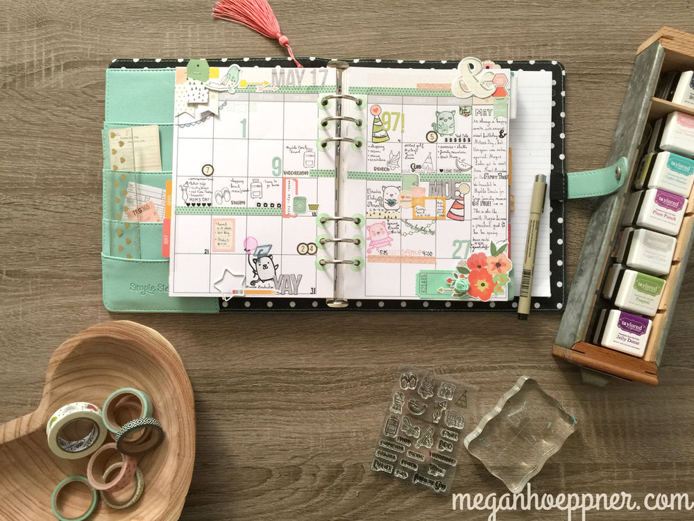 stamping in day planner