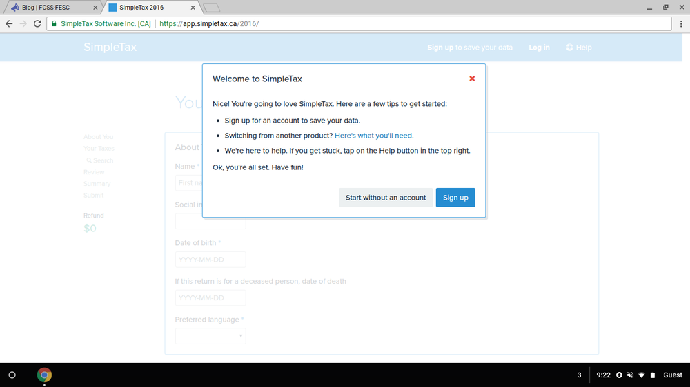 """Click """"Sign up"""" when prompted"""