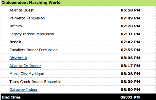 WGI Mid South Percussion Championship 2015 - PIW Prelims Schedule (3/21/15)
