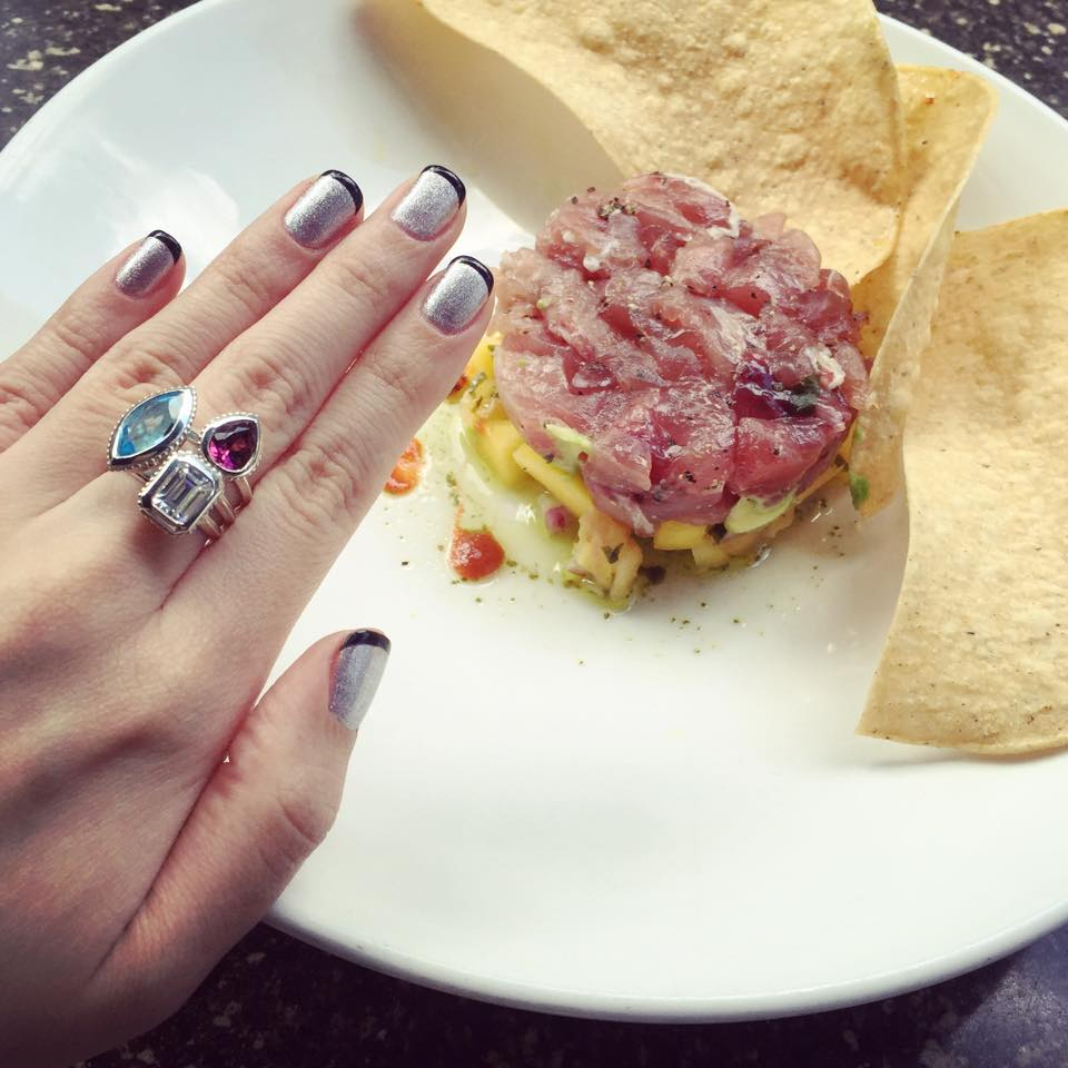 Geometry diced Tuna Tartare and faceted colors of gemstones. #Foodie and Fashion Lover.