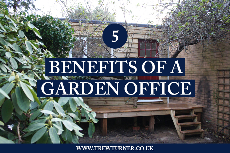 Blog image title graphic for 5 Benefits of a Garden Office