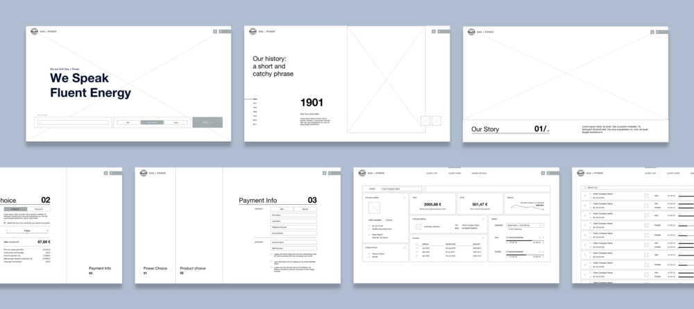 Top row, left to right - Home page, History pave with vertical image, History pave with horizontal image. Middle row, left to right: Get Quote flow step 2, Get Quote flow step 3, Gulf Core platform Client Card, Gulf Core platform Client List.