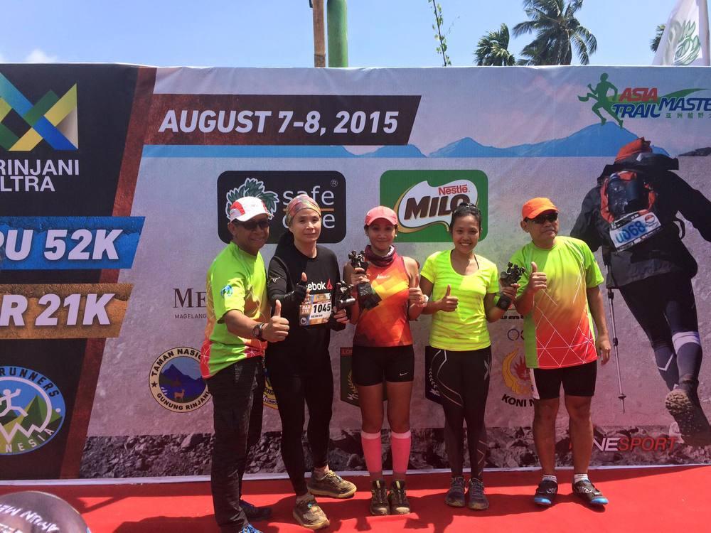 Podium of the women's RAR race with winner Ina Budiyarni in the middle.