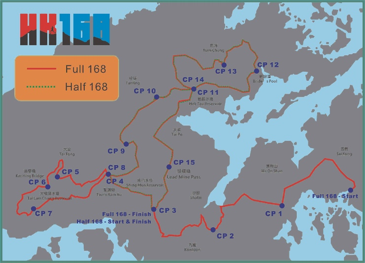 Map of the two longest race distances at HK 168