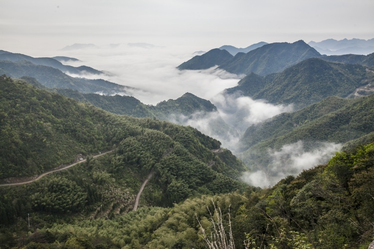 The mountains around Linhai in Zhejiang Province, close to Ningbo