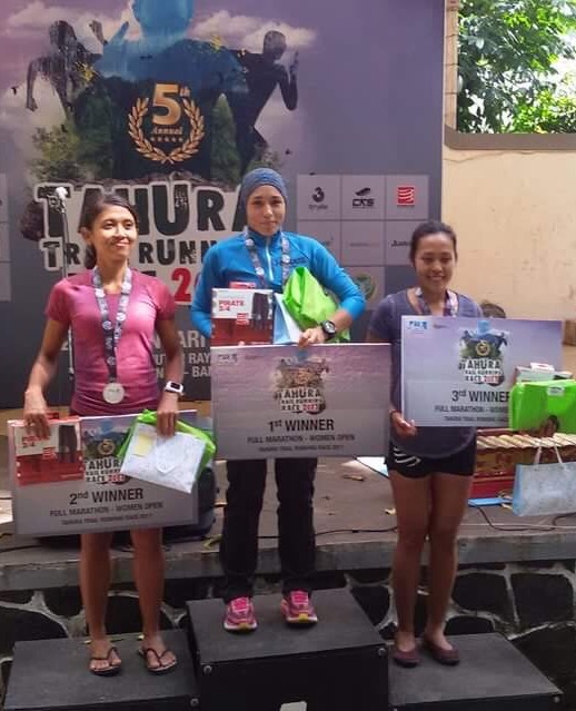 Female podium of this year's 42K race with ATM Champion Tahira on the top step