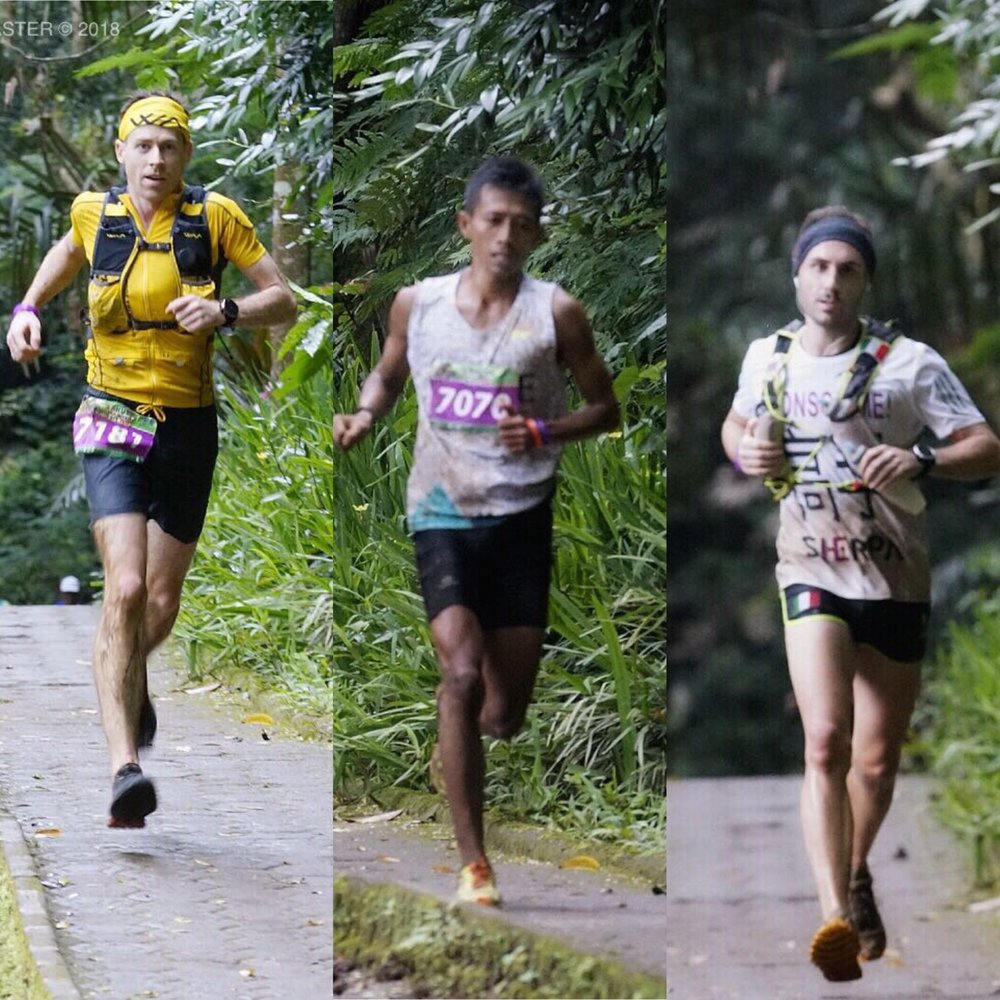 The men's top 3 captured 1 km before the finish line: Campbell, Margono and Sherpa (P: Adventure III)