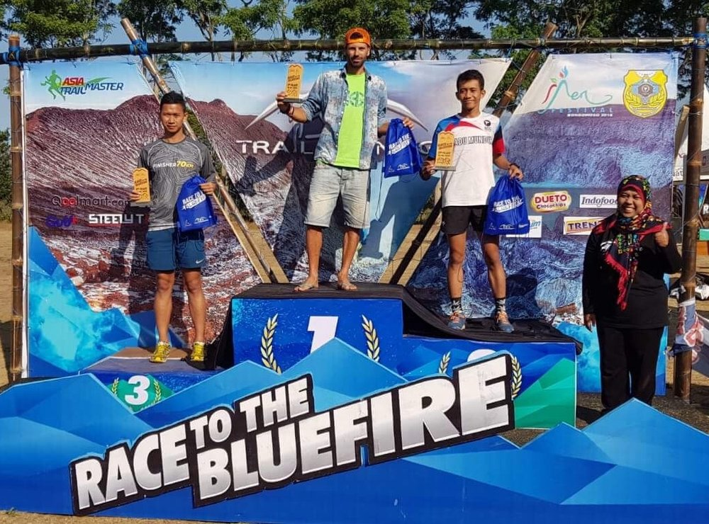 The men's 70k podium with Salva, Yusuff and Thomy