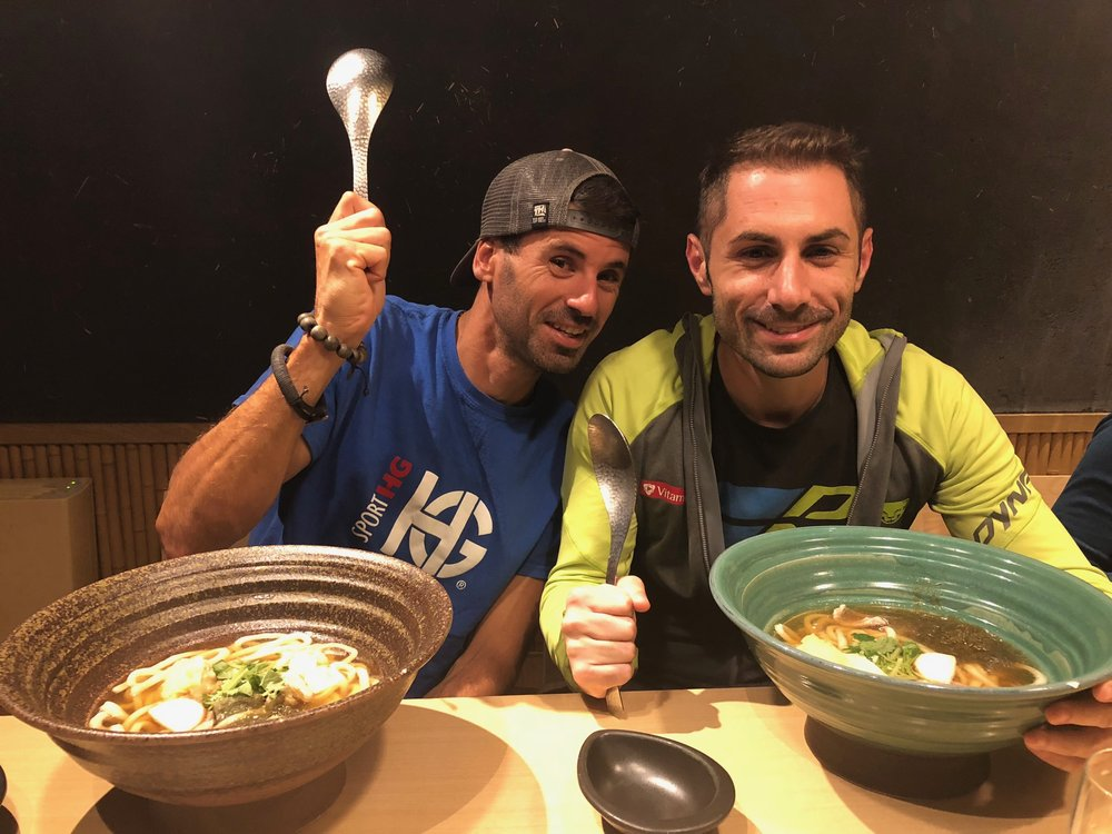 Dinner in Tokyo for the two ATM championship finalists: nobody spiked any soup