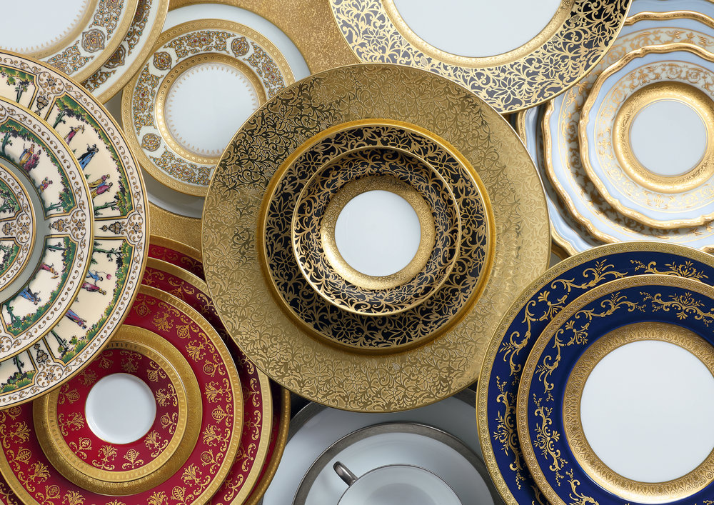 Raynaud  haute-couture tableware in Limoges fine porcelain Ⓒ  Ercuis , Photography by  Francis Amiand