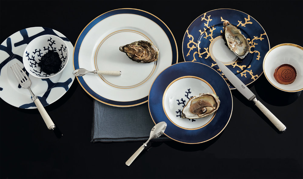 Ercuis cutlery with Cristobal Marine dishes by  Raynaud , Alberto Pinto design - Ⓒ  Ercuis , Photography by  Francis Amiand