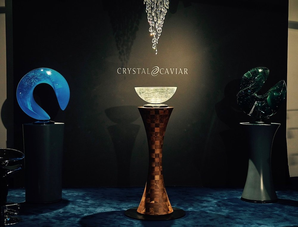 """Crystal Caviar stand at Monaco Yacht Show 2017.On display:""""Open Space"""" (left), """"Well"""" (middle) and """"Aqua-Aqua"""" (right) by  Vlastimil Beranek       Ⓒ  Crystal Caviar"""