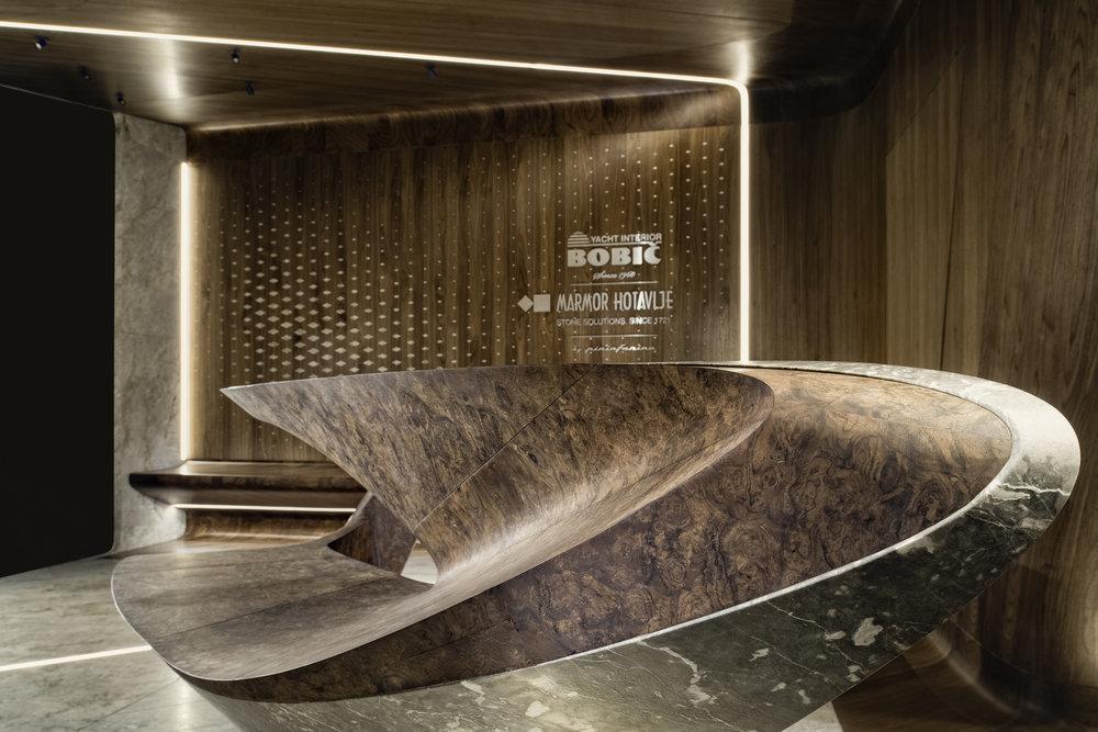 Marmor Hotavlje and  Bobič Yacht Interior  immersive space at the Monaco Yacht Show 2017 designed by  Pininfarina Architecture  Ⓒ  Marmor Hotavlje
