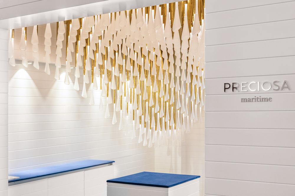 Preciosa Maritime stand with installation concept SeAnne at Monaco Yacht Show September 2017 Ⓒ  Preciosa