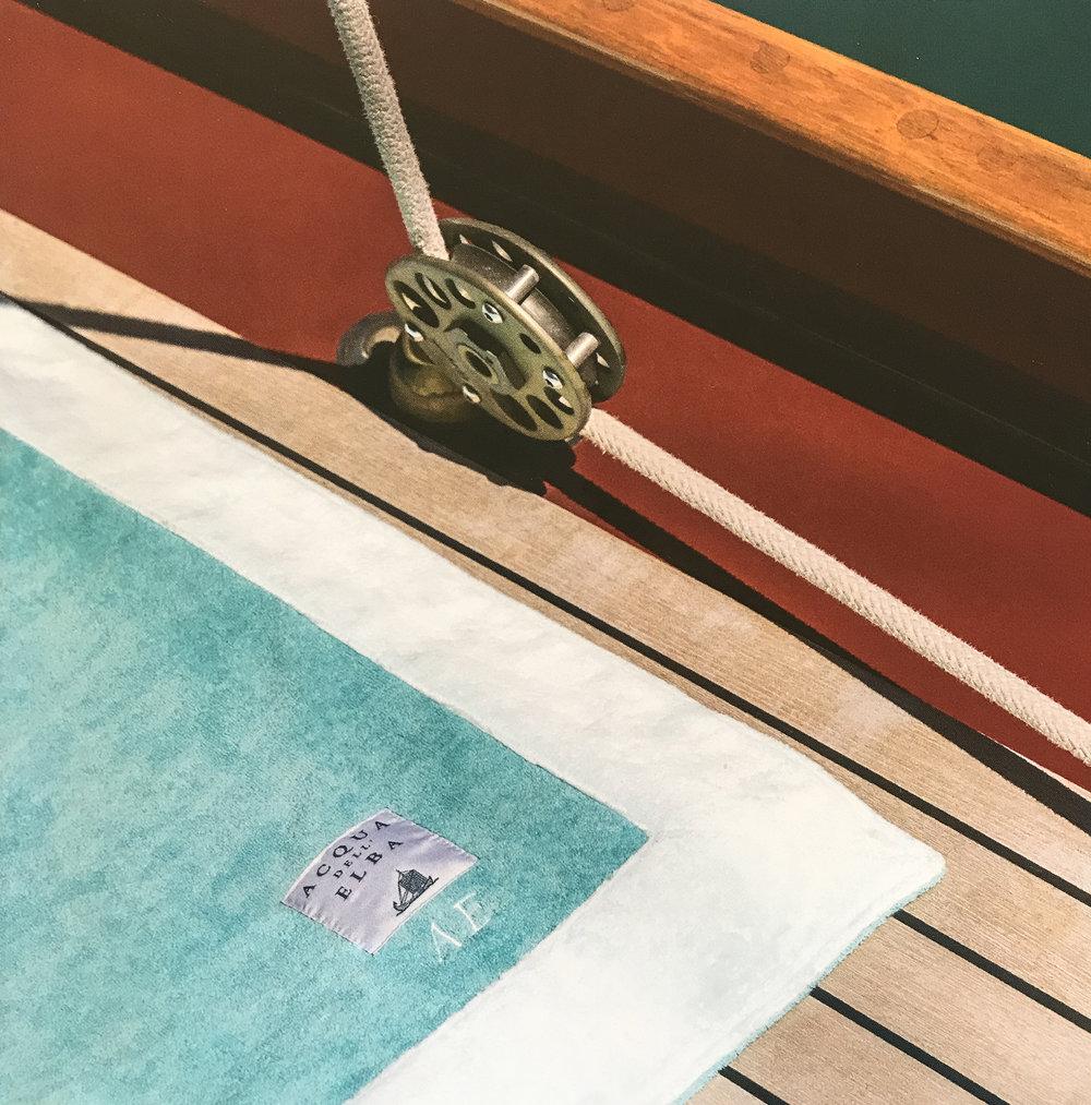 Soft and elegant bath towel with personalised logo Ⓒ  Acqua dell'Elba