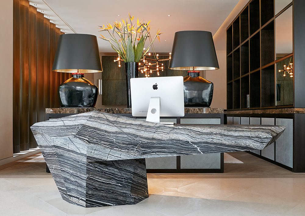 Stone table by Marmor Hotavlje, Design by Ⓒ  Alexander Purcell Rodrigues , Photography by  Andrew Beasley
