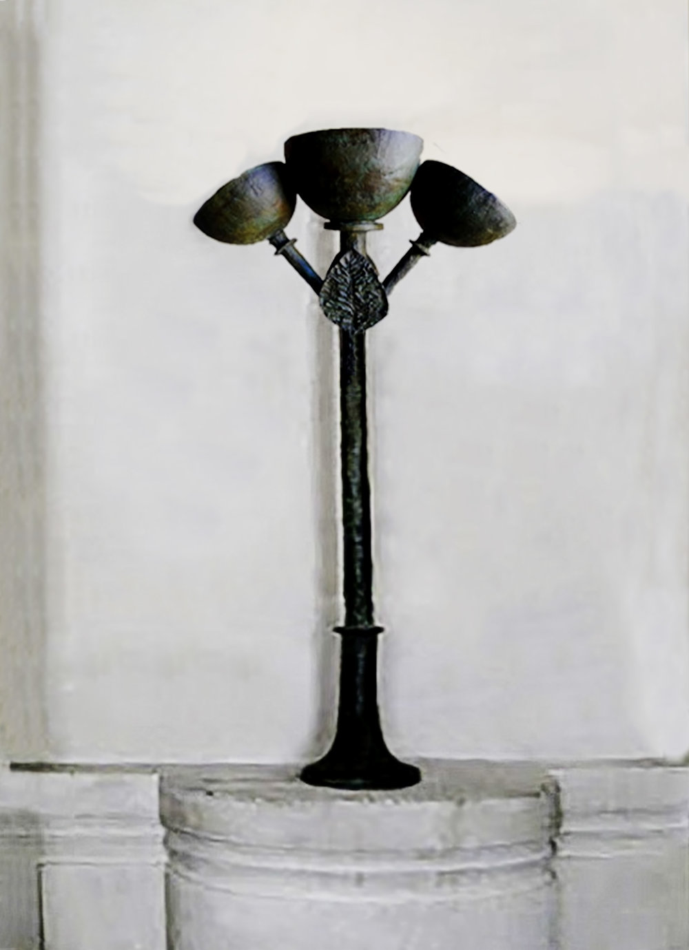Bronze torchere designed by D. Giacometti on display at Picasso National Museum in Paris